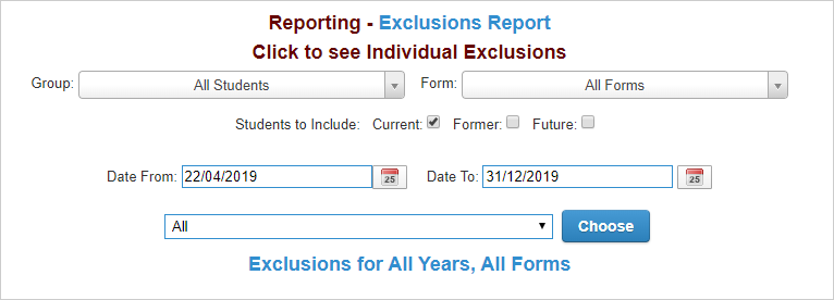 ScholarPack exclusions report